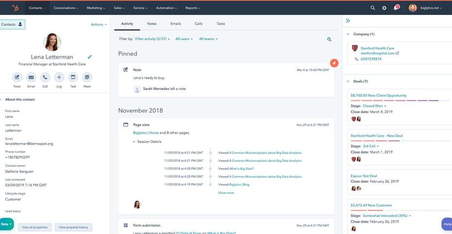 HubSpot interface